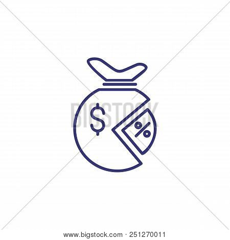 Percentage Of Money Line Icon. Dollar, Sack, Percent, Pie Diagram. Finance Concept. Can Be Used For