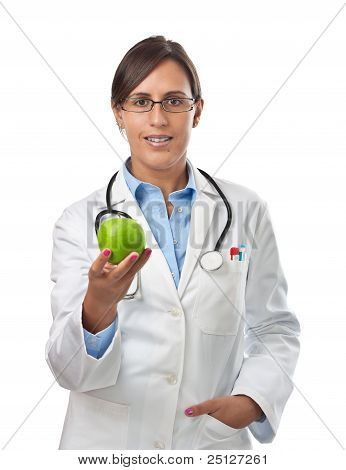 Doctor Giving An Apple As A Healthy Eating Example
