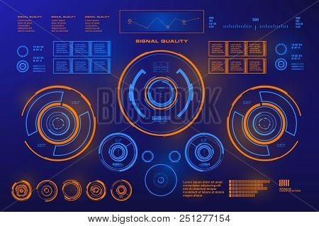 Futuristic Blue Virtual Graphic Touch User Interface, Target, Virtual Reality
