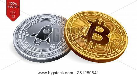 Bitcoin And Stellar. 3d Isometric Physical Coins. Digital Currency. Cryptocurrency. Silver Coin With