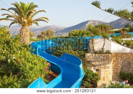Hersonissos, Crete, Greece- July 17, 2018: Water Slide In 5 Stars Aldemar Knossos Royal Hotel With V