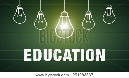 Banner Education - Text And Light Bulbs On A Chalkboard