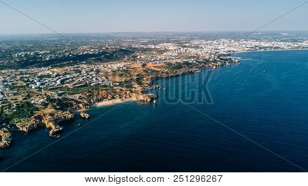 Algarve Coast From Above. Portugal Coast Aerial View. Ocean Of Above.
