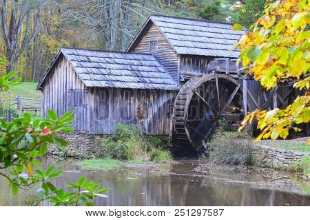 Mabry Mill in Autumn - Blue Ridge Parkway, Virginia USA