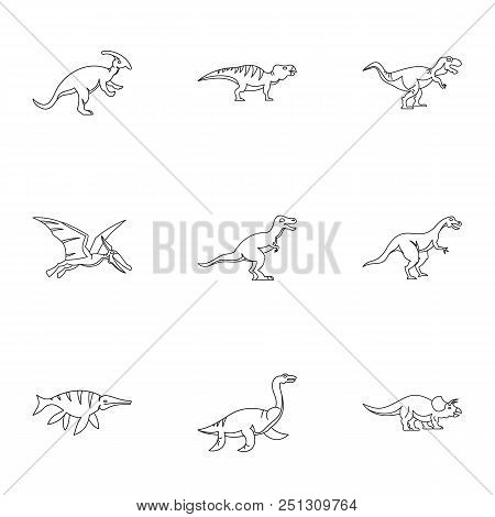 Figures Dinosaur Icons Set. Outline Set Of 9 Figures Dinosaur Vector Icons For Web Isolated On White