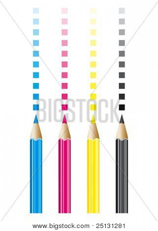 CMYK color pencils