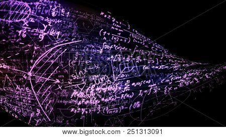 3d Rendering Abstract Mathematical Formulas In The Virtual Space. Mathematical Formulas Is Bent In T