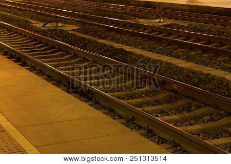 Railway Station Tracks At Night ,at China  North