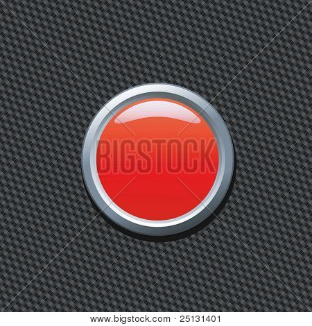 Blank red push button on carbon fiber background. Write your own text!