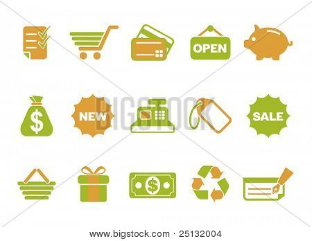 Green Orange Shopping Icon in Vector format