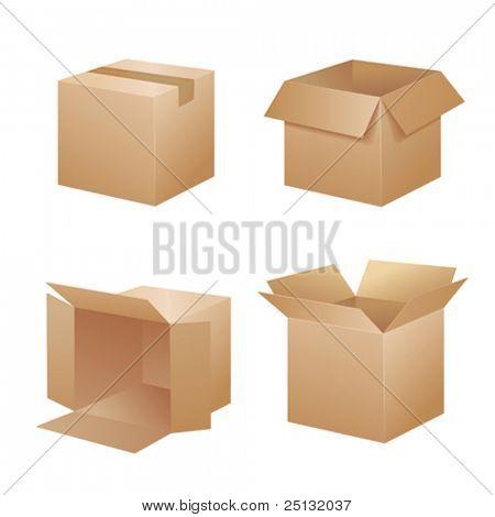 Vector cardboard shipping boxes