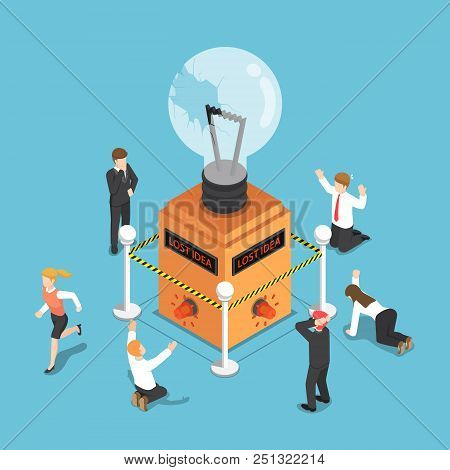 Flat 3d Isometric Business People Shocked When Light Bulb Of Idea Is Damaged And Security Alarm Ring