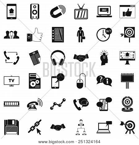 Data Exchange Icons Set. Simple Style Of 36 Data Exchange Vector Icons For Web Isolated On White Bac