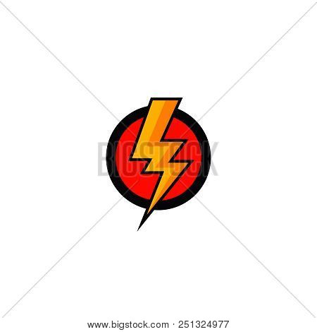 Flash Bolt Icon Vector  Lightening Bolt In Red Circle