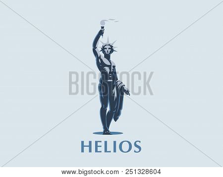 Helios The Sun God With A Torch In His Hands Illuminates The Earth.