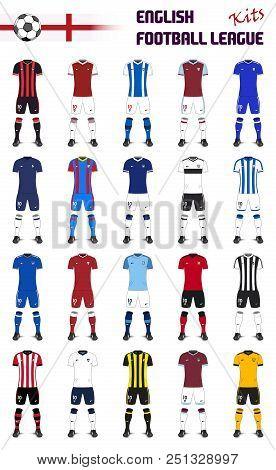 Set Of English Football League Generic Kits