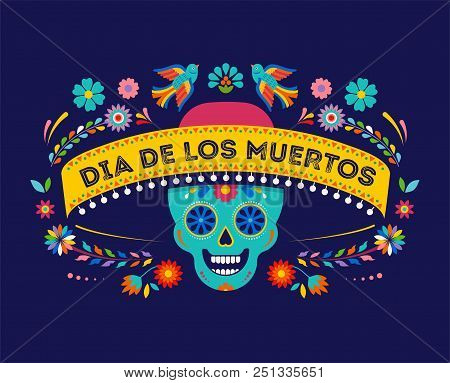 Day Of The Dead, Dia De Los Muertos Background, Banner And Greeting Card Concept With Sugar Skull. C