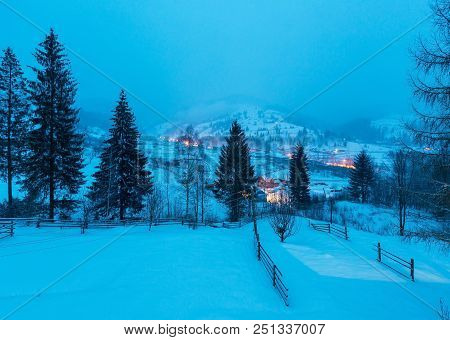 Night Winter Carpathian Mountain Village Zelene In Black Cheremosh River Valley Between Alp View Fro