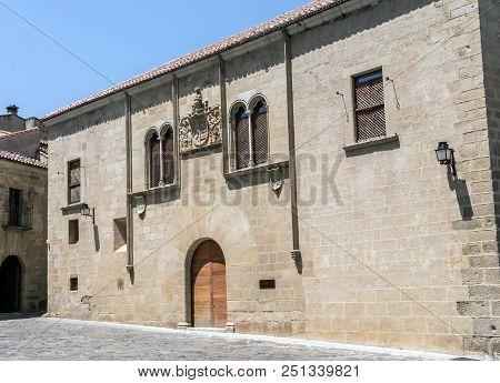 Caceres, Spain - July 13, 2018:  Caceres, Spain: Palacio De Mayoralgo, Located In Plaza De Santa Mar