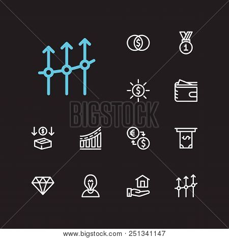 Economy Icons Set. Mutual Funds And Economy Icons With Inventor, Jewelry And Exchange. Set Of Deposi