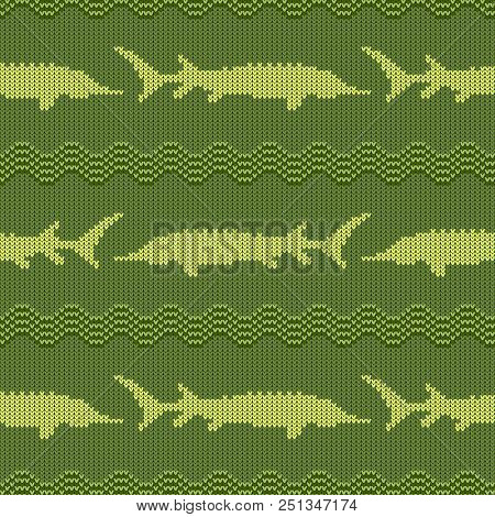 Knitted Woolen Seamless Pattern With Sturgeons In Vintage Green Tones