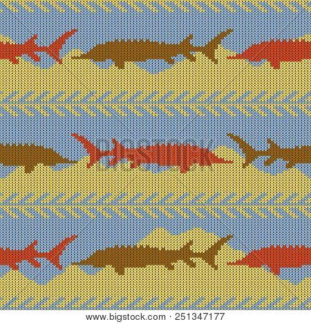 Knitted Woolen Winter Seamless Pattern With Sturgeons. Yellow Sand And Blue Water