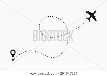 Airplane Dotted Line Vector & Photo (Free Trial) | Bigstock