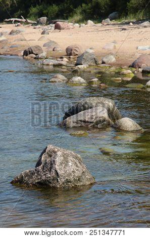 Riga Gulf Coast Near Skulte. Latvia. Coast At Low Tide