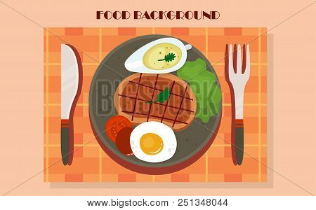 Meat And Vegetables, Graphic Illustration Of A Light Lunch. Vector Illustration.