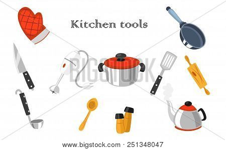 Vector Set Of Realistic Images Of Kitchen Tools