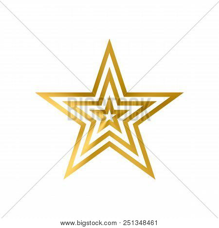 Three Metallic Gold Stars Enclosed One Into Another Isolated On White. Simple Golden Star Icon. Foil