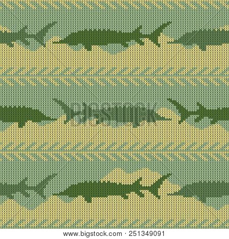 Knitted Woolen Seamless Pattern With Sturgeons. Yellow Sand And Green Water