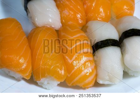 Assortment Of Fresh Sushi, Sushi With Salmon And Butterfish. Tasty Fresh Japanese Cuisine. Asian Foo