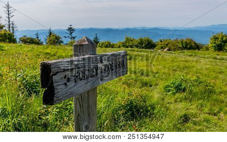 Forney Ridge Sign On Andrews Bald With Ridge In Background