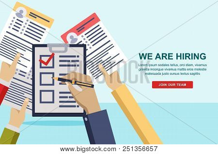 Hands Giving Cv Resume Documents To Hr Manager. Human Resources Interview Concept. Recruitment And H
