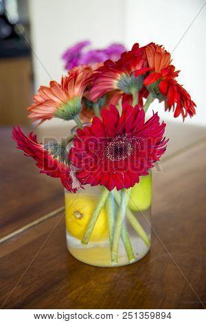 Closeup Of Gerbera Bouquet In A Vase
