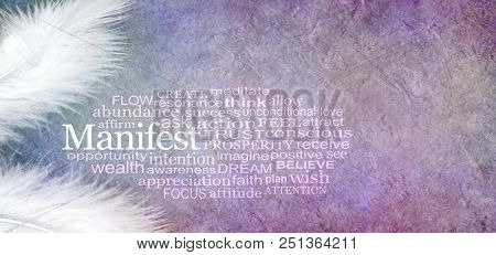 Angelic Manifest Abundance Word Cloud - Two White Feathers And A Manifest Word Cloud Against A Rusti