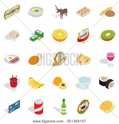 Dinnerware Icons Set. Isometric Set Of 25 Dinnerware Vector Icons For Web Isolated On White Backgrou