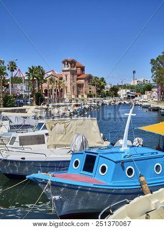 Greek Boats Moored In Mikrolimano Port Of Piraeus. Attica, Greece.