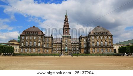 View Of Christiansborg Place Across The Riding Ground Complex In Copenhagen, Denmark