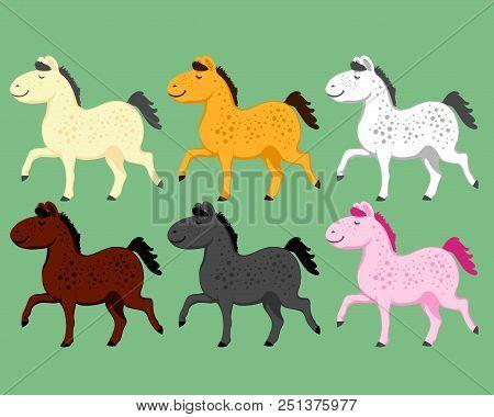 Baby Cartoon Pony Horses Are Having Fun On A Selenium Background
