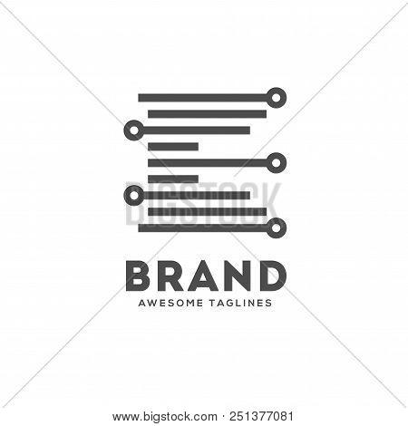 Letter E Lines Logo Vector,  Technology Smart Logo, Computer And Data Related Business, Letter E Hi-