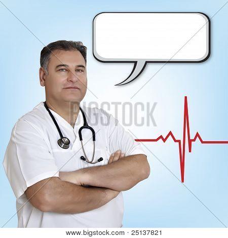 Male Doctor With Empty Speech Bubble