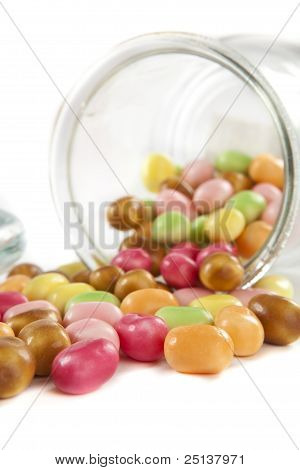Colorful Candys Out Of A Glass Jar