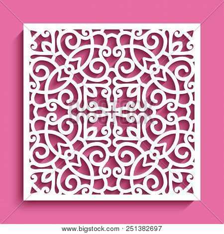 Decorative Square Panel With Lace Pattern, Ornamental Template For Laser Cutting Or Wood Carving, Cu
