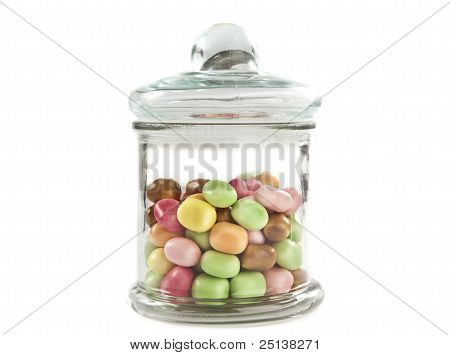 Colorful Candys In A Glass Jar