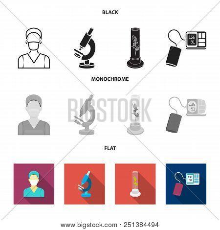 Plant In Vitro, Nurse, Microscope, Tonometer. Medicine Set Collection Icons In Black, Flat, Monochro