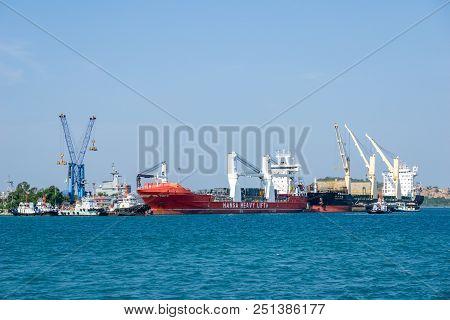 Chonburi, Thailand - April 9, 2018 : Cargos Ships Moors At Chuk Samet Deep Sea Port On April 9, 2018
