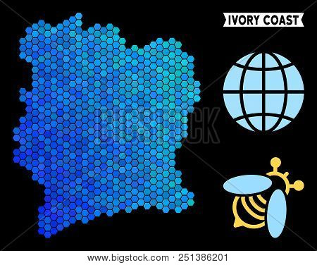 Blue Hexagon Ivory Coast Map. Geographic Map In Blue Color Tints On A Black Background. Vector Mosai