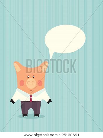Pig in business suit. Cartoon invitation vector card poster